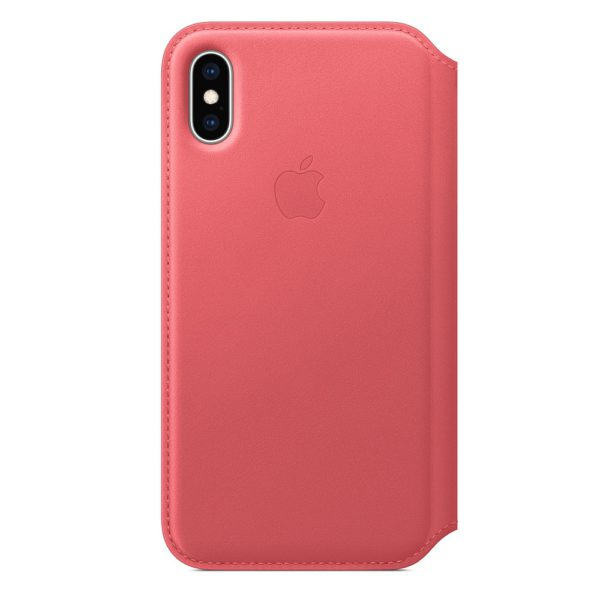 iPhone XS Leather Folio - Peony Pink