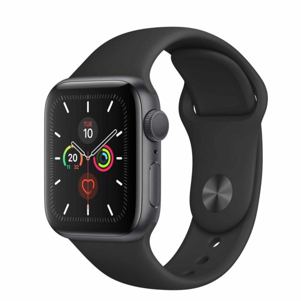 Apple Watch Series 5 Space Grey Aluminium Case with Black Sport Band