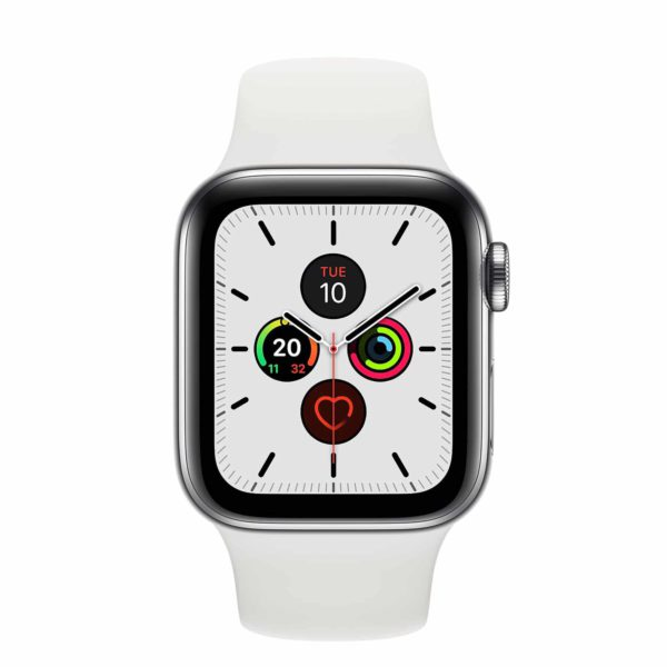 Apple Watch Series 5 Stainless Steel Case with White Sport Band