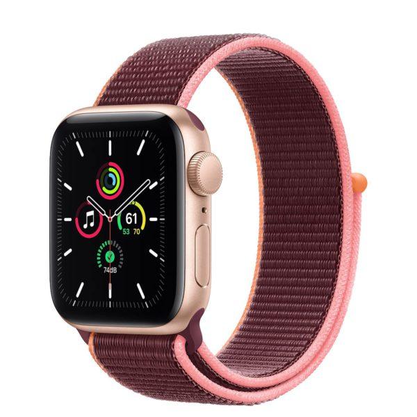 Apple Watch SE Gold Aluminium Case with Plum Sport Loop