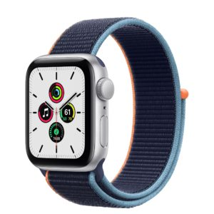 Apple Watch SE Silver Aluminium Case with Deep Navy Sport Loop