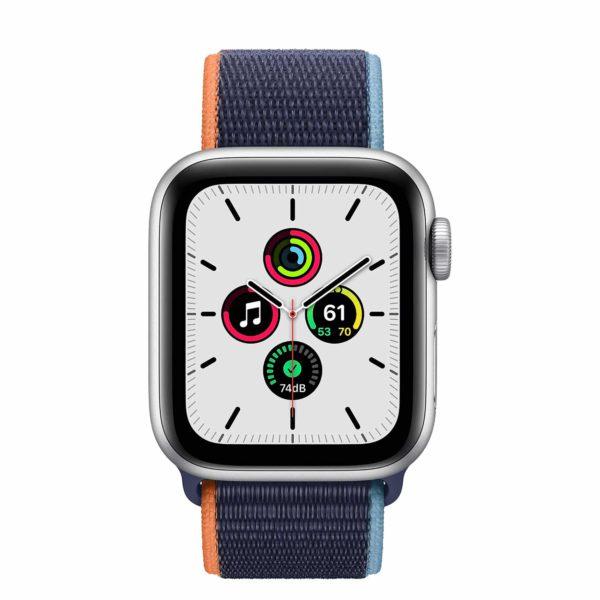 Apple Watch SE Silver Aluminium Case with Deep Navy Sport Loop