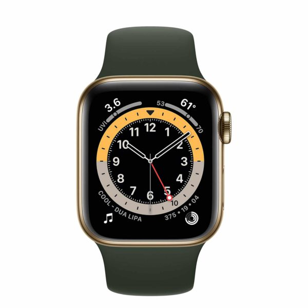 Apple Watch Series 6 Gold Stainless Steel Case with Cyprus Green Sport Band