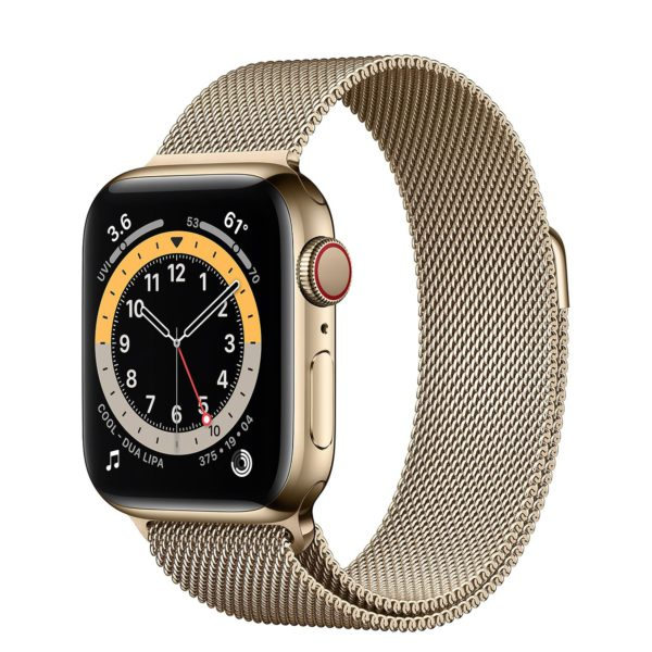 Apple Watch Series 6 Gold Stainless Steel Case with Gold Milanese Loop