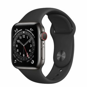 Apple Watch Series 6 Graphite Stainless Steel Case with Black Sport Band