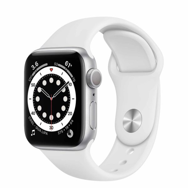 Apple Watch Series 6 Silver Aluminium Case with White Sport Band