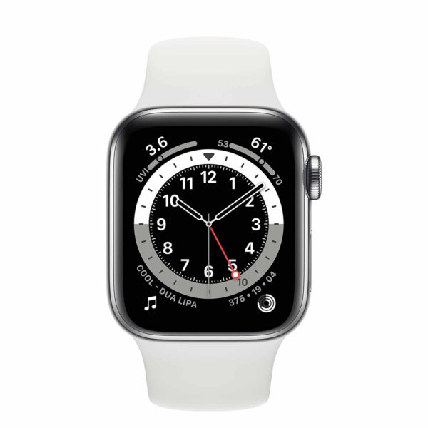 Apple Watch Series 6 Silver Stainless Steel Case with White Sport Band