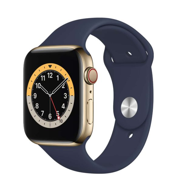 Apple Watch Series 6 GPS + Cellular with Gold Stainless Steel Case and Deep Navy Sport Band