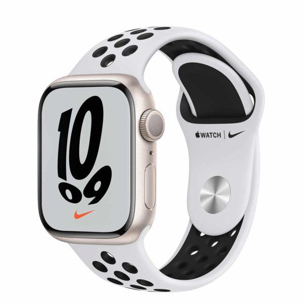 Apple Watch Nike Series 7 Starlight Aluminium Case with Pure Platinum/Black Nike Sport Band