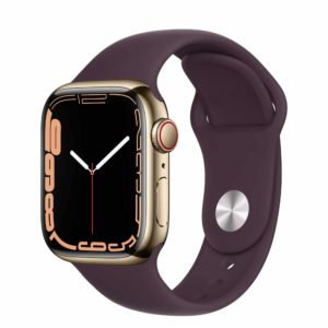Apple Watch Series 7 GPS + Cellular with Gold Stainless Steel Case and Dark Cherry Sport Band