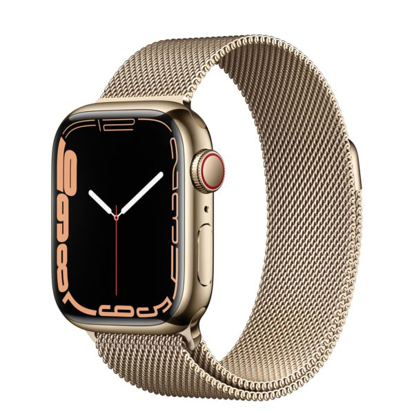 Apple Watch Series 7 GPS + Cellular with Gold Stainless Steel Case and Gold Milanese Loop
