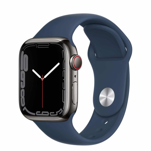 Apple Watch Series 7 GPS + Cellular with Graphite Stainless Steel Case and Abyss Blue Sport Band