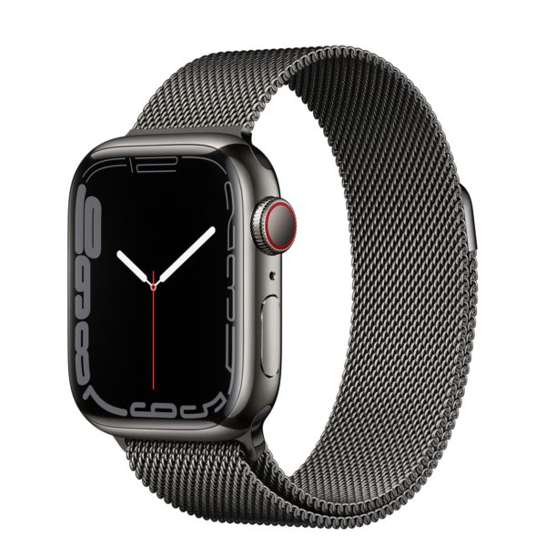 Apple Watch Series 7 GPS + Cellular with Graphite Stainless Steel Case and Graphite Milanese Loop