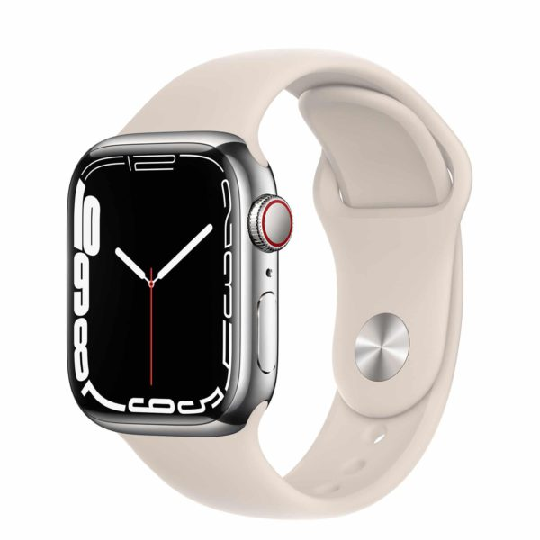 Apple Watch Series 7 GPS + Cellular with Silver Stainless Steel Case and Starlight Sport Band