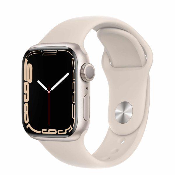 Apple Watch Series 7 Starlight Aluminium Case with Starlight Sport Band